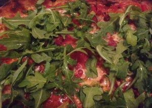 Rocket Pizza - Pancetta and Peppers